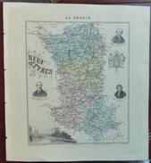 """Gravure 19 ème.  Atlas Migeon  1874 CARTE DU DÉPARTEMENT  """"Deux Sèvres 79"""" - Cartes Géographiques"""