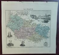 """Gravure 19 ème.  Atlas Migeon  1872 CARTE DU DÉPARTEMENT  """"Somme 80"""" - Cartes Géographiques"""