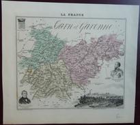 """Gravure 19 ème.  Atlas Migeon  1872 CARTE DU DÉPARTEMENT  """"Tarn Et Garonne 82"""" - Geographical Maps"""