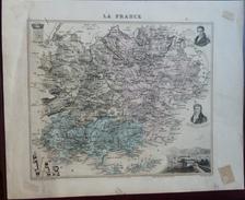 """Gravure 19 ème.  Atlas Migeon  1874 CARTE DU DÉPARTEMENT  """"Var 83"""" - Cartes Géographiques"""