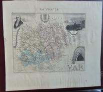 """Gravure 19 ème.  Atlas Migeon  1876 CARTE DU DÉPARTEMENT  """"Var 83"""" - Cartes Géographiques"""