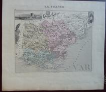 """Gravure 19 ème.  Atlas Migeon  1878 CARTE DU DÉPARTEMENT  """"Var 83"""" - Geographische Kaarten"""