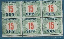 Yougoslavie - Taxe   Yvert  N°   5 ** Bloc De 6 - Cw 16921 - Postage Due
