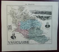 """Gravure 19 ème.  Atlas Migeon  1872 CARTE DU DÉPARTEMENT  """"Vaucluse 84"""" - Geographical Maps"""