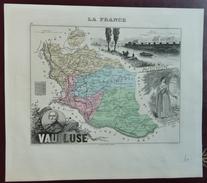 """Gravure 19 ème.  Atlas Migeon  1876 CARTE DU DÉPARTEMENT  """"Vaucluse 84"""" - Geographical Maps"""