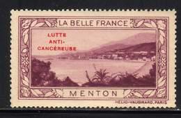 VIGNETTE NEUVE ** LA BELLE FRANCE - LUTTE ANTI-CANCEREUSE - MENTON - Commemorative Labels