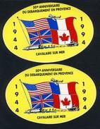 2 AUTOCOLLANTS  -  50 EME ANNIVERSAIRE  DU  DEBARQUEMENT  EN  PROVENCE(  CAVALAIRE) N2 - Magnets