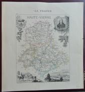 """Gravure 19 ème.  Atlas Migeon  1876 CARTE DU DÉPARTEMENT  """"Haute Vienne 87"""" - Cartes Géographiques"""