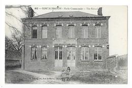 CONTALMAISON   (cpa 80)  Ecole Communale - 2 écolières -    - L 1 - France