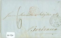 HANDGESCHREVEN BRIEF Uit 1855 Van HAMBURG DEUTSCHLAND Naar BORDEAUX FRANCE   (10.570) - Hamburg