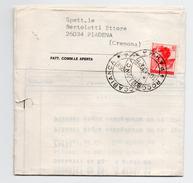 Storia Postale - Lire 40 Michelangiolesca Isolato In Tariffa Su Fattura Commerciale Da Roccabianca  A Piadena - 6. 1946-.. Repubblica