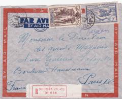 NOUVELLE CALEDONIE Paris Expo 1937 + 9f Sur Lettre AVION RECOMMANDÉE > Paris - Briefe U. Dokumente