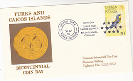 1976 TURKS CAICOS ISLANDS  Illus US BICENTENNIAL COIN DAY WASHINGTON Event COVER Bird Stamps Birds - Us Independence