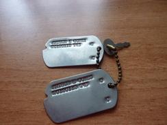 Paire De Plaque D'identité US    , Casque , Equipement, 1939-45, 1914-18,mine, Grenade - Ausrüstung