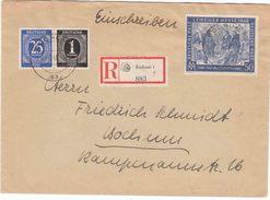 """DUTSLAND (BERLIN WEST  EINSCHREIBE Bf (Michel) 967 + """"BERLIN  / TREPTOW / 28.11.49"""" Naar COBURG - Zone Soviétique"""