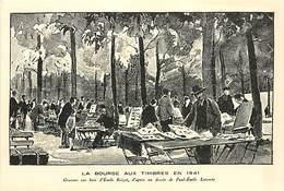 Ref M997- Dessin De Paul Emile Lecomte - La Bourse Aux Timbres A Paris En 1941 -carte Bon Etat - - Briefmarken (Abbildungen)