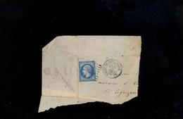 1863 Timbre Empire 20c Napoléon Sur Fragment De Lettre Affranchissement NEUVY SAINT ST SEPULCRE Indre 19 SEPT 1863 - 1863-1870 Napoleon III With Laurels