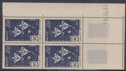 Maroc N° 322  XX Solidarité : 25 F.bleu En Bloc De 4 Coin Daté Du 19 . 2 . 53 ; 1 Trait, Sans Charnière, TB - Unused Stamps