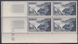 Maroc N° 324  XX Barrage De Bine El Ouidane En Bloc De 4 Coin Daté Du 12 . 10 . 53 ; Sans Charnière, TB - Unused Stamps