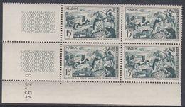 Maroc N° 330  XX Journée Du Timbre: En Bloc De 4 Coin Daté Du 16 . 3 . 54 ; 2 Traits, Sans Charnière,TB - Unused Stamps