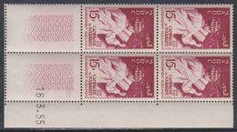 Maroc N° 340 XX Solidarité: 15 F. Brun Carminé,en Bloc De 4 Coin Daté Du 16 . 3 . 55 ; 2 Traits ; Sans Charnière, TB - Unused Stamps