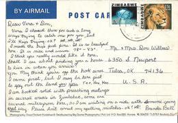 Zimbabwe Postcard Monkey With Lion (Panthera Leo), 1980 Blue Topaz To USA - Zimbabwe (1980-...)