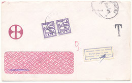 1974 OMSLAG ZONDER POSTZEGEL V. VERVIERS N. EUPEN? MET TX69(strip2) - Taxes