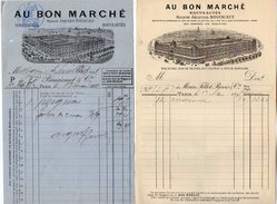 VP7141 - 2 Factures - Maison Aristide BOUCICAUT ¨ AU BON MARCHE ¨ à PARIS Rue Du Bac,de Sevres,de Velpeau,de Babylone - 1800 – 1899