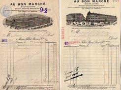 VP7142 - 2 Factures - Maison Aristide BOUCICAUT ¨ AU BON MARCHE ¨ à PARIS Rue Du Bac,de Sevres,de Velpeau,de Babylone - 1800 – 1899