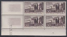 Maroc N° 341 XX Solidarité : 30 F. Brun-lilas En Bloc De 4 Coin Daté Du 17 . 3 . 55 ; Sans Trait ; Sans Charnière, TB - Unused Stamps