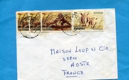 MARCOPHILIE  Lettre- ZAÏRE>Françe > Cad   1987 -4 STAMPS N) 150 Lions+146 Rhinocéros  Blanc - Autres
