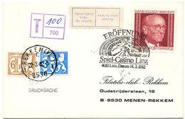 """1982 OMSLAG POSTZEGEL(OOSTENRIJK) V. LINZ N. MENEN-REKEM""""FILATELIC-CLUB"""" MET TX68+70 - Postage Due"""