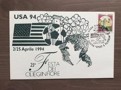 """Cartolina Mostra Sport E Filatelia Annullo 25^ Festa Dei Ciliegi In Fiore """"Verso USA '94"""" Vignola (MO) 2-4-1994 - Calcio"""