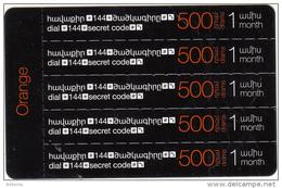 ARMENIA - 5 Orange Mini Prepaid Cards 500 AMD, Exp.date 31/12/16, Used