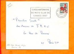 """ALPES-MMES, Cannes, Flamme à Texte, """"cinquantenaire / Du Moto Club De / Cannes 1967"""" - Marcophilie (Lettres)"""