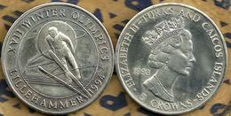 TURKS AND CAICOS ISLANDS 5 CROWNS LILLEHAMMER OLYMPICS SPORT FRONT QEII BACK 1993 KM? UNC READ DESCRIPTION CAREFULLY !!! - Turks En Caicoseilanden