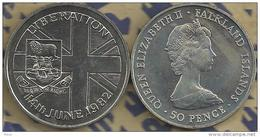FALKLAND ISLANDS 50 PENCE FLAG SHIP LIBERATION FRONT QEII HEAD BACK 1982 UNC KM? READ DESCRIPTION CAREFULLY !!! - Falkland Islands