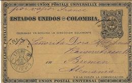 """1889-C P E P 2 Centavos De Baranquilla ( Colombie ) Pour L'Allemagne -  Par Vapor France  + Cad  """" LIGNE D / PAQ.FR.N°2 - Storia Postale"""