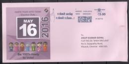 India  2016  Tamilnadu Legislative Elections  Meter Cancellation CHENNAI Special Cover  # 75488  Inde  Indien - Indien