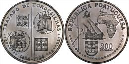 """PORTUGAL 200 ESCUDOS Cu-Ni 1.994 KM#671  SC/UNC  """"TRATADO DE TORDESILLAS""""    T-DL-11.030 - Portogallo"""