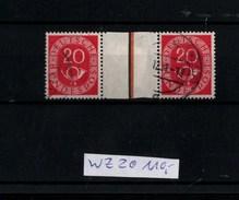 ! Bund Posthorn Zusammendruck Mi.Nr. WZ2 Gestempelt, Wert 110,- Mi. Euro - Se-Tenant