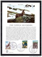 """FRANCE Et ANDORRE 1971 : Encart 1er Jour Papier Glacé : """" PARC NATIONAL DES PYRENEES """". Parfait état. FDC - Briefmarken"""