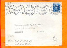 """ALPES-MMES, Menton, Flamme à Texte, """"Menton """"la Peerle / De La France"""" / (Elisée Reclus) // Menton Toues Saisons"""", Krag - Sellados Mecánicos (Publicitario)"""