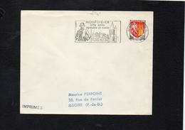 """Flamme Sur Lettre De Montdidier (Somme) """" Parmentier Ville Saine Agreable Et Riante""""  /  Blason Agen YT 1353a - Postmark Collection (Covers)"""