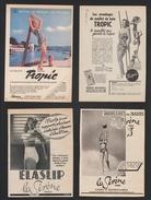 Lot De 4 Pubs Papier 1952/53/59 Sous Vetement  LA SIRENE TROPIC Maillot De Bain JANTZEN Beauté Femme Pin Up Dessin - Advertising