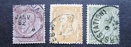 B1376 - Belgium - 1886-91 - Sc. 56-57-58 - 1884-1891 Leopold II.