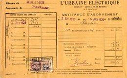VP7160 - Quittance D'Abonnement - L'Urbaine Electrique Commune De CHAMPAGNE - Electricity & Gas