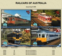 """Australian PAYTEL Phone Cards """"RAILCARS OF AUSTRALIA"""" Set No 44 Of 4 In Unused Mint Condition Scarce 04/2000 - Trains"""