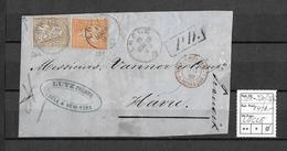 1862-1881 SITZENDE HELVETIA (gezähnt)  → PD.Briefteil LOCLE  Nach HAVRE / Montana USA ►SBK-32a & 36b◄ - 1862-1881 Sitzende Helvetia (gezähnt)