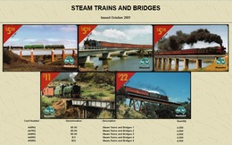 """Australian PAYTEL Phone Cards """"STEAM TRAIN AND BRIDGES"""" Set No 55 Of 5 In Unused Mint Condition Scarce 10/2001 - Trains"""
